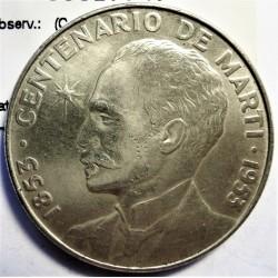 Cuba 1 Pesos. 1953. AG. 26,73gr. Ley:0,900. (Cº J.Marti). Ø39mm. EBC-/EBC+. (Nueva con pqñas. marquitas anv.). KM. 29