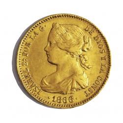 España 10 Escudos. 1866. Madrid. MBC-. ESCASO/A. 8,337gr. AU. Ley:0,900. Ø22mm. CT. 44