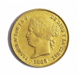 España 4 Pesos. 1863. Manila. MBC/MBC+. 6,766gr. AU. Ley:0,900. Ø21mm. CT. 123