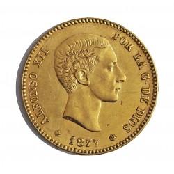 España 25 Ptas. 1877. *18*77. DEM. MBC-/MBC. (Imagen tipo). 8,065gr. AU. Ley:0,900. Ø24mm. CT. 2 - HG. 173