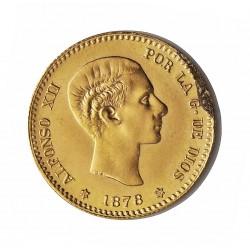 España 10 Ptas. 1878. *19*62. DEM. SC-/SC. (Hoja saltada en anverso). (Reacuñacion oficial). 3,23gr. AU. Ley:0,900. Ø19,5mm. C