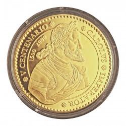 España 40000 Ptas. 2000. PRF. MUY RARO/A. (Sin estuche. Con Certificado). (Serie Vº.Cº.-Carlos V). 15,55gr. AU. Ley:0,999. Ø39