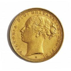 Australia 1 Libra/Pound. 1887. Melbourne. EBC/EBC+. (Marquitas.Tono original). (Tipo Moño). 7,988gr. AU. Ley:0,917. Ø22mm. KM.