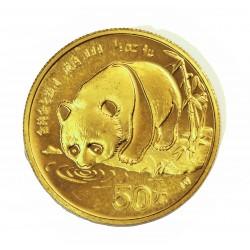 China.-Rep.Popul. 50 Yuan. 1987. BU. (Panda bebiendo). 15,552gr. AU. Ley:1,000. Ø27mm. KM. 162