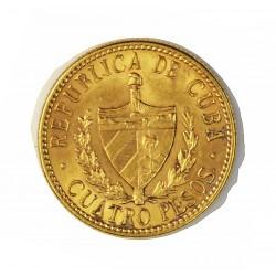 Cuba 4 Pesos. 1916. EBC/EBC+. (Insig.marquitas anv.). MUY ESCASO/A. (J.Marti). 6,687gr. AU. Ley:0,900. Ø18mm. KM. 18