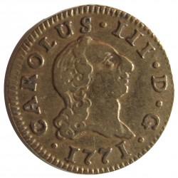 España ½ Escudos. 1771. M-(Madrid). PJ. MBC. ESCASO/A. 1,69gr. AU. Ley:0,917. Ø15mm. CT. 691 - KM. 389.1