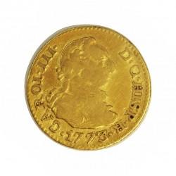 España ½ Escudos. 1773. /2. M-(Madrid). PJ. BC+/MBC-. 1,69gr. AU. Ley:0,900. Ø14,5mm. CT. 693 a