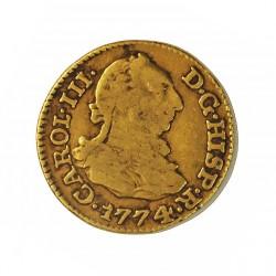 España ½ Escudos. 1774. M-(Madrid). PJ. BC+/MBC-. 1,69gr. AU. Ley:0,900. Ø15mm. CT. 694 - KM. 415.1