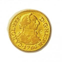 España ½ Escudos. 1786. M-(Madrid). DV. BC+/MBC-. (Se observa leves restos de soldadura en rev.). (Resello de flor de 4 petalos