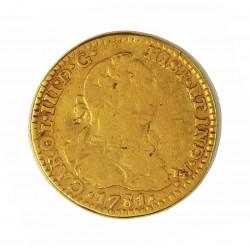 España 1 Escudos. 1781. Mº-(Mejico). F.F. BC/BC+. (Ceca y Ensay.invertidos). 3,38gr. AU. Ley:0,900. Ø18mm. CT. 590 - KM. 118.2