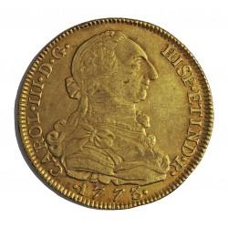 España 8 Escudos. 1773. NR-(N.Reino/Sta.Fe).(Colombia). V.J. MBC+/EBC-. 27,064gr. AU. Ley:0,901. Ø37mm. CT. 157 - KM. 50.1
