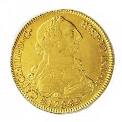 España 8 Escudos. 1786. S-(Sevilla). C. MBC/MBC+. 27,06gr. AU. Ley:0,875. Ø37mm. CT. 22 - KM. 409.2a