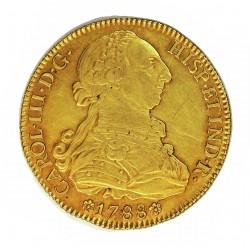 España 8 Escudos. 1788. S-(Sevilla). C. EBC-/EBC. (Muy lev.marquita X en anv. Bonita)). 27,07gr. AU. Ley:0,875. Ø37mm. CT. 24