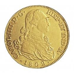 España 8 Escudos. 1802. M-(Madrid). FA. EBC/EBC+. (Insig.marquitas.Gran parte de su tono original. Muy Bonita). 27gr. AU. Ley:0