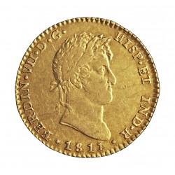 España 2 Escudos. 1811. C-(Cadiz). C.I. MBC/MBC+. (Marca de Ceca grande). 6,77gr. AU. Ley:0,875. Ø23mm. KM. 468 - AUC. 1579