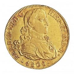 España 8 Escudos. 1808. Mº-(Mejico). TH. EBC-/EBC. 27gr. AU. Ley:0,875. Ø37mm. KM. 160 - AUC. 1781