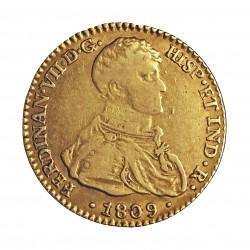 España 2 Escudos. 1809. S-(Sevilla). C.N. MBC-/MBC. AU. 6,77gr. KM. 455 - AUC. 1667. Ø22mm