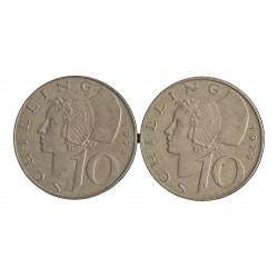 Austria-(y Estados) LOTE. 1974. 1975. EBC-/EBC. CUNI. 6,2gr. (2 Monedas de 10 Shilling). Ø26mm. KM. 2918