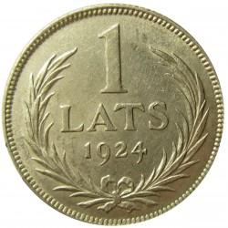 Latvia 1 Lati. 1924. AG. 5gr. Ley:0,835. Ø23mm. MBC+/EBC-. KM. 7