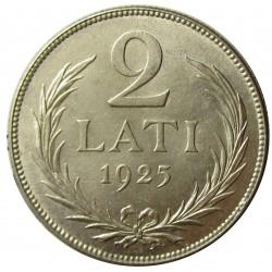 Latvia 2 Lati. 1925. AG. 10gr. Ley:0,835. Ø27mm. EBC+/SC-. KM. 8