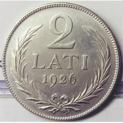 Latvia 2 Lati. 1926. AG. 10gr. Ley:0,835. Ø27mm. MBC+/EBC-. KM. 8