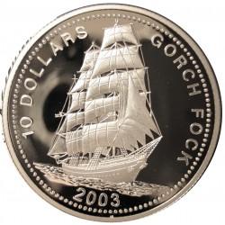 Liberia 10 Dolar. 2003. AG. 25gr. Ley:0,999. (Goleta Gorch Fock). Ø38,6mm. PRF
