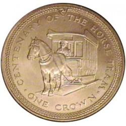 Man.-Isla de 1 Corona. 1976. AG. 28,3gr. Ley:0,925. (Cº Tranvia de Caballos). Ø38mm. SC. KM. 38 a
