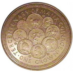 Man.-Isla de 1 Corona. 1979. AG. 28,3gr. Ley:0,925. (300º Anv.Acuñación Monedas). Ø38mm. SC. KM. 45 a