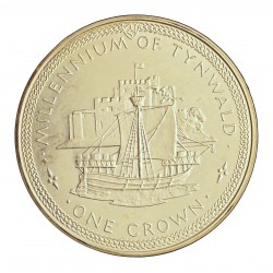 Man.-Isla de 1 Corona. 1979. AG. 28,3gr. Ley:0,925. (1000º Anv.Barco Tynwald). Ø38mm. PRF. KM. 47 a
