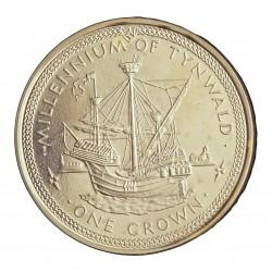 Man.-Isla de 1 Corona. 1979. AG. 28,3gr. Ley:0,925. (1000º Anv.Barco Tynwald). Ø38mm. PRF. KM. 48 a