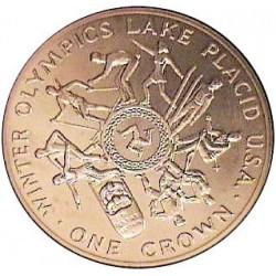 Man.-Isla de 1 Corona. 1980. AG. 28,3gr. Ley:0,925. (Olimp.-Lake Placid). Ø38mm. SC. KM. 64 a