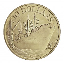 Singapur 10 Dolar. 1975. AG. 31,1gr. Ley:0,500. (10º Anv.Independencia-Barco de Carga). Ø40mm. SC. KM. 11