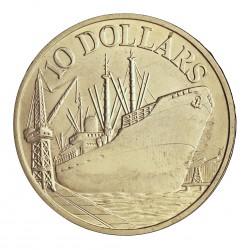 Singapur 10 Dolar. 1977. AG. 31,1gr. Ley:0,500. (10º Anv.Independencia y carguero en puerto). Ø40mm. SC. KM. 15