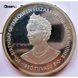 Tuvalu 10 Dolar. 1980. AG. 35gr. Ley:0,925. (80º Anv.Reina Madre). Ø41mm. PRF. KM. 11 a