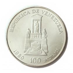 Venezuela 100 Bolivares. 1981. AG. 22gr. Ley:0,900. (150º Anv.Muerte de S.Bolivar). Ø40mm. SC. KM. 56
