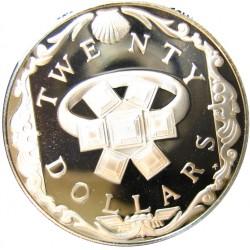Virgenes.-Islas 20 Dolar. 1985. AG. 19,09gr. Ley:0,925. (Anillo de Esmeraldas). Ø38mm. PRF. KM. 51