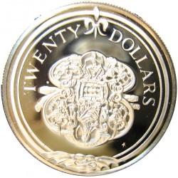 Virgenes.-Islas 20 Dolar. 1985. AG. 19,09gr. Ley:0,925. (Protector de Espada). Ø38mm. PRF. KM. 55