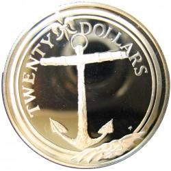 Virgenes.-Islas 20 Dolar. 1985. AG. 19,09gr. Ley:0,925. (Ancla). Ø38mm. PRF. KM. 53