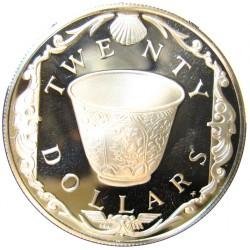 Virgenes.-Islas 20 Dolar. 1985. AG. 19,09gr. Ley:0,925. (Cubo de Porcelana). Ø38mm. PRF. KM. 49