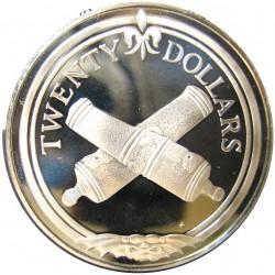 Virgenes.-Islas 20 Dolar. 1985. AG. 19,09gr. Ley:0,925. (Cañones Cruzados). Ø38mm. PRF. KM. 48