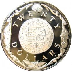 Virgenes.-Islas 20 Dolar. 1985. AG. 19,09gr. Ley:0,925. (Doblon Español). Ø38mm. PRF. KM. 52