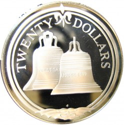 Virgenes.-Islas 20 Dolar. 1985. AG. 19,09gr. Ley:0,925. (Campanas)-(Ceca en el centro). Ø38mm. PRF. KM. 63.2