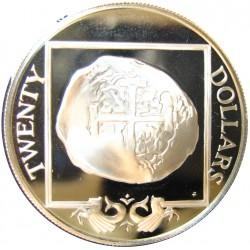 Virgenes.-Islas 20 Dolar. 1985. AG. 19,09gr. Ley:0,925. (Moneda Macuquina). Ø38mm. PRF. KM. 66