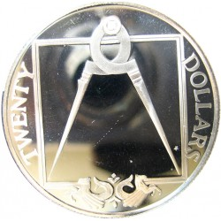 Virgenes.-Islas 20 Dolar. 1985. AG. 19,09gr. Ley:0,925. (Compas divisor). Ø38mm. PRF. KM. 68