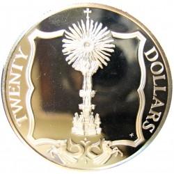 Virgenes.-Islas 20 Dolar. 1985. AG. 19,09gr. Ley:0,925. (Custodia de Oro). Ø38mm. PRF. KM. 59