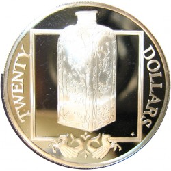 Virgenes.-Islas 20 Dolar. 1985. AG. 19,09gr. Ley:0,925. (Botella de Porcelana). Ø38mm. PRF. KM. 64