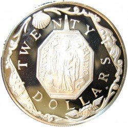 Virgenes.-Islas 20 Dolar. 1985. AG. 19,09gr. Ley:0,925. (Medallon). Ø38mm. PRF. KM. 61