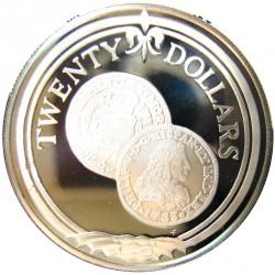 Virgenes.-Islas 20 Dolar. 1985. AG. 19,09gr. Ley:0,925. (Escudo Español). Ø38mm. PRF. KM. 57