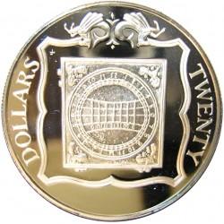 Virgenes.-Islas 20 Dolar. 1985. AG. 19,09gr. Ley:0,925. (Reloj de Sol de Marfil). Ø38mm. PRF. KM. 58