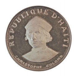 Haiti 25 Gourde. 1973. AG. 10gr. Ley:0,925. (Cristobal Colon). Ø19mm. PRF. KM. 102